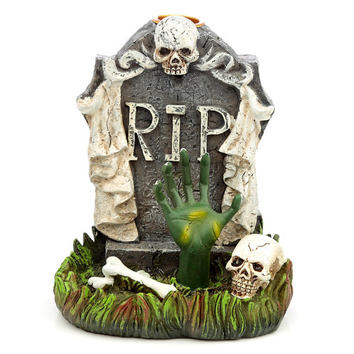 Backflow Incense Burner - RIP Zombie Hand Tombstone Novelty Gift