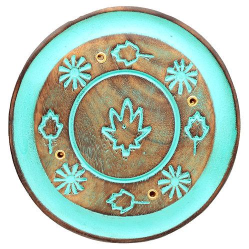 Decorative Round Painted Leaf Wooden Incense Burner Ash Catcher Novelty Gift