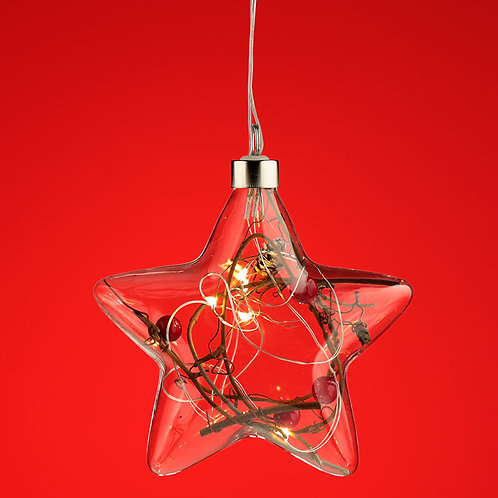 Decorative Hanging LED - Christmas Winter Berries Star Small Novelty Gift
