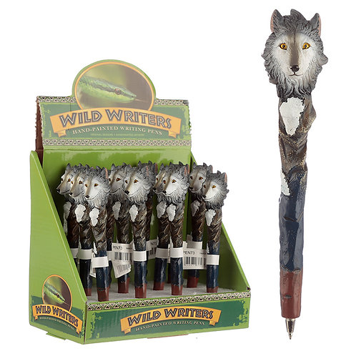 Funky Wolf Design Novelty Pen Novelty Gift [Pack of 2]