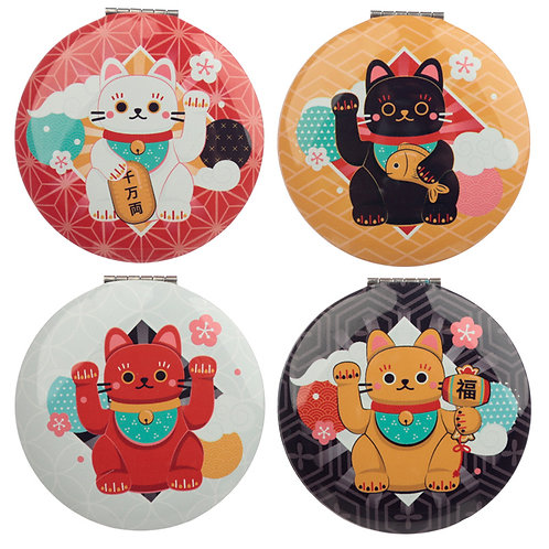 Fun Collectable Lucky Cat Maneki Neko Compact Mirror Novelty Gift [1]