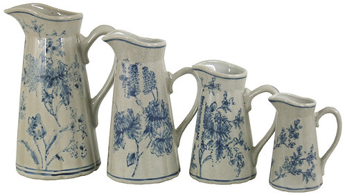 Set of 4 Ceramic Jugs, Blue And White Magnolia Design Shipping furniture UK