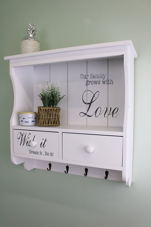 Wall unit in white with hooks/drawers and shelf Shipping furniture UK