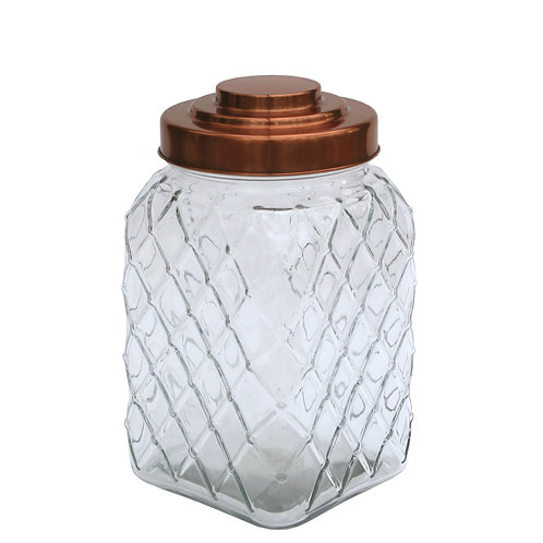 Copper Lidded Square Glass Jar - 10.5 Inch Med Shipping furniture UK