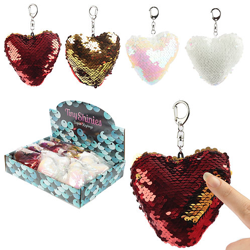 Fun Heart Shaped Glitter Sequin Keyring Key Chain Novelty Gift