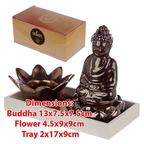 Novelty Buddha & Lotus Candle & Incense Cone Burner Gift Set