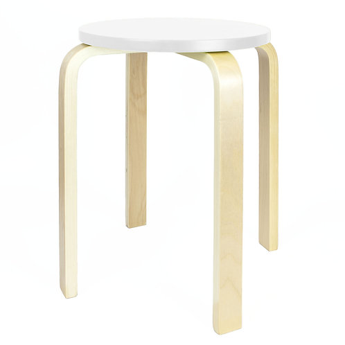 Wooden Stool - White | Home Essentials UK