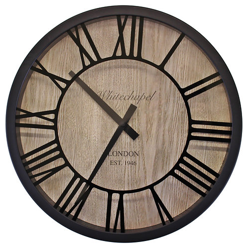 Black & Wood Effect Clock With Roman Numerals Shipping furniture UK