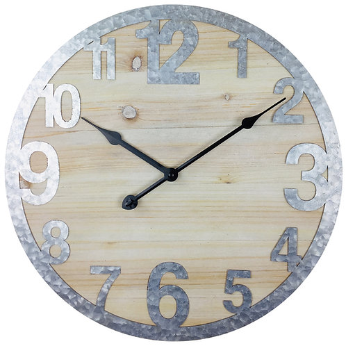 Wooden Wall Clock with Zink Numbers 40cm Shipping furniture UK