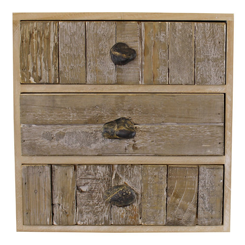 3 Drawer Unit, Driftwood Effect With Pebble Handles Shipping furniture UK