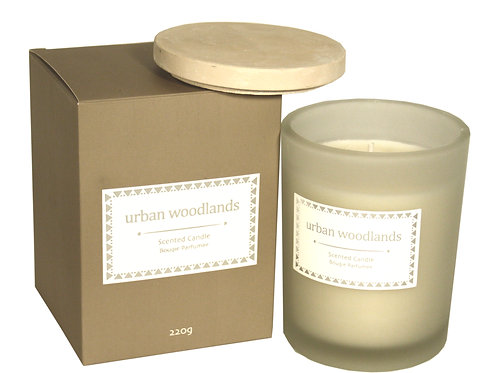 Glass Candle W/Lid In Brown Gift Box - Urban Woodlands Shipping furniture UK