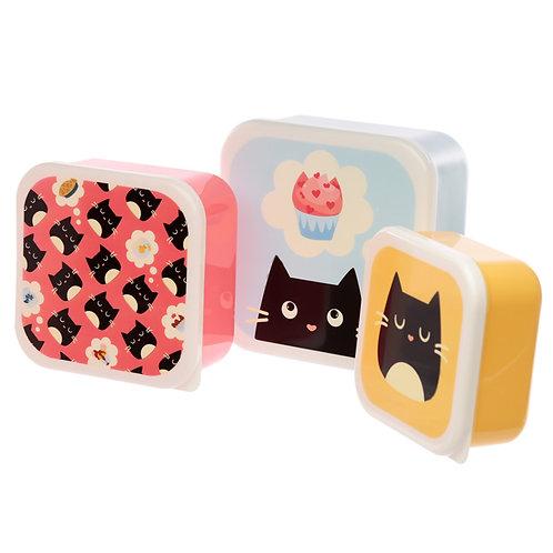 Cute Feline Fine Cat Set of 3 Plastic Lunch Boxes (M/L/XL) Novelty Gift