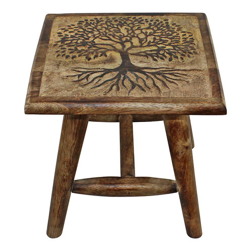 Tree of Life Hand Carved Stool, 25cm Shipping furniture UK