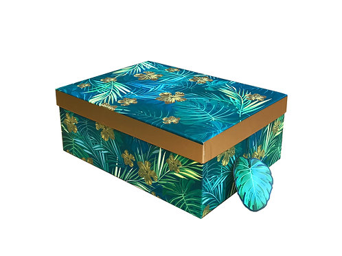 Blue & Gold Leaf Gift/Storage Box Gold Rim S Shipping furniture UK