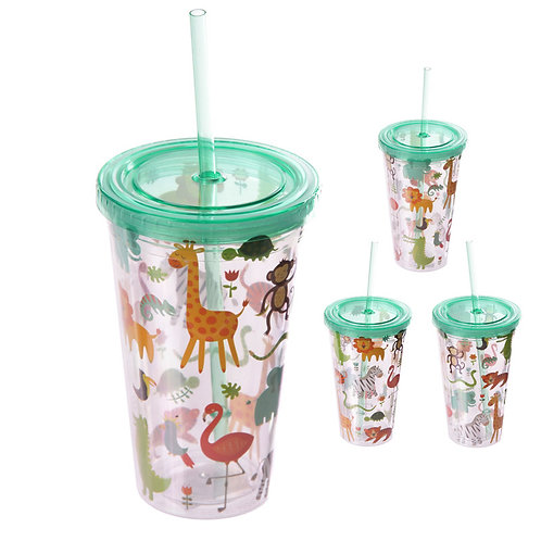 Funky Zoo Animals Double Wall Lidded Cup and Straw Novelty Gift
