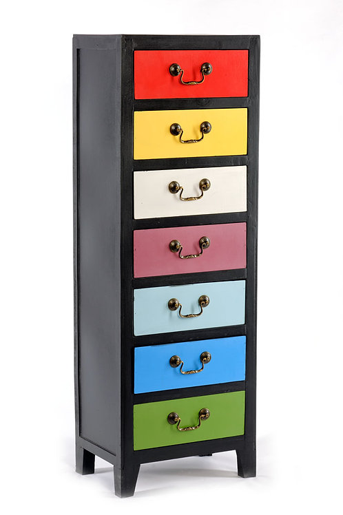 Rainbow Tall Cabinet with 7 Drawers 38 x 26 x 110cm Shipping furniture UK