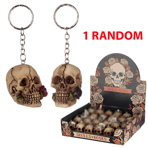 Novelty Collectable Skulls and Roses Keyring Gift