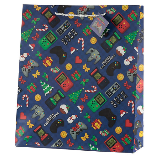 Retro Gaming Game Over Extra Large Christmas Gift Bag Novelty Gift