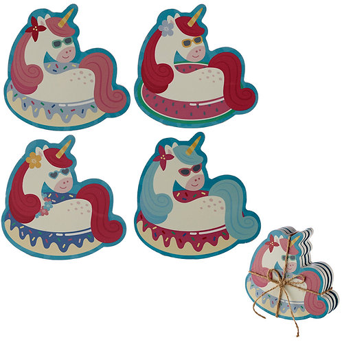 Set of 4 Novelty Coasters - Vacation Vibes Unicorn Novelty Gift