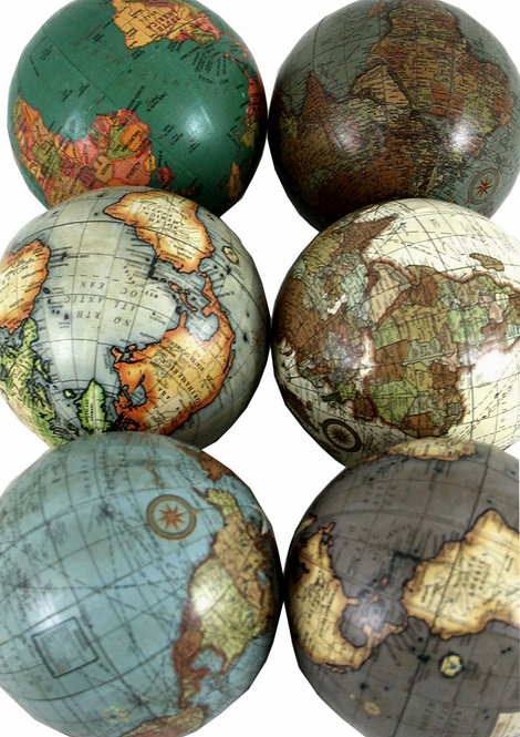 Set of 6 x 3 Inch Decorative Globes In Assorted Colours Shipping furniture UK