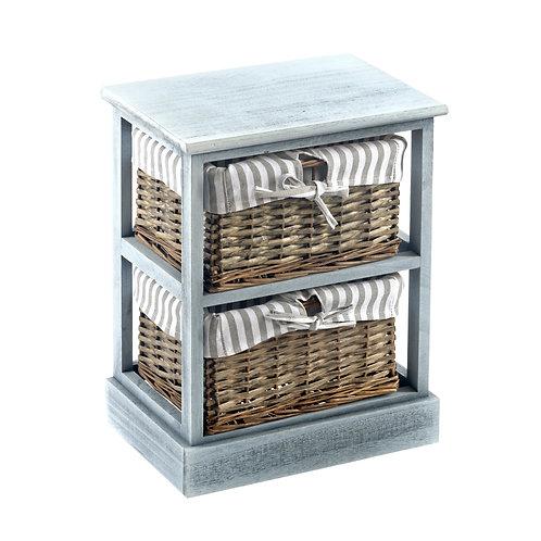 Grey Shabby Chic 2 Basket Wood Cabinet Shipping furniture UK