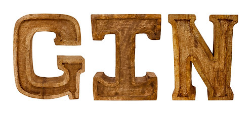Hand Carved Wooden Embossed Letters Gin Shipping furniture UK