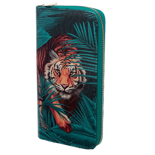 Large Zip Around Wallet - Big Cat Spots and Stripes Novelty Gift