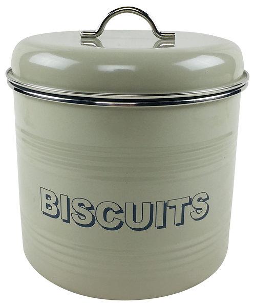 Sage Round Ridged Biscuit Tin Shipping furniture UK
