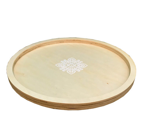 Wooden Round Tray With Mandala Design - Large Shipping furniture UK