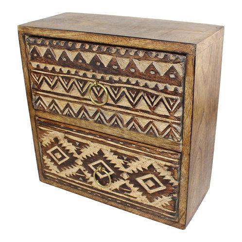 Kasbah 2 Drawer Trinket Unit 21x20cm Shipping furniture UK