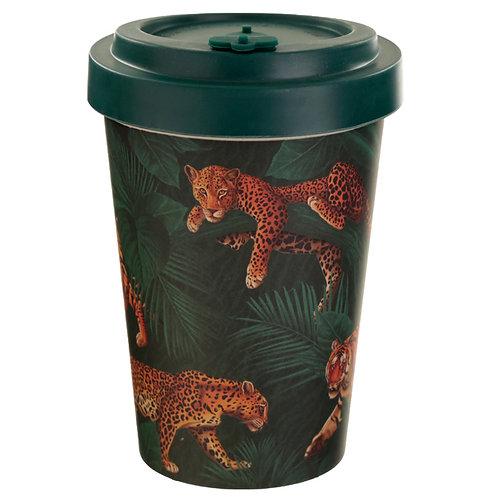 Bamboo Composite Big Cat Spots & Stripes Screw Top Travel Mug Novelty Gift