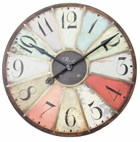 Wooden Multicoloured Clock 75cm Shipping furniture UK