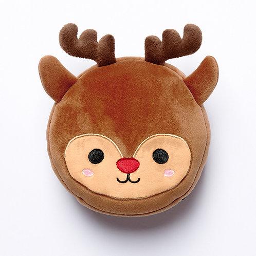 Christmas Reindeer Plush Round Travel Pillow & Eye Mask Set Novelty Gift