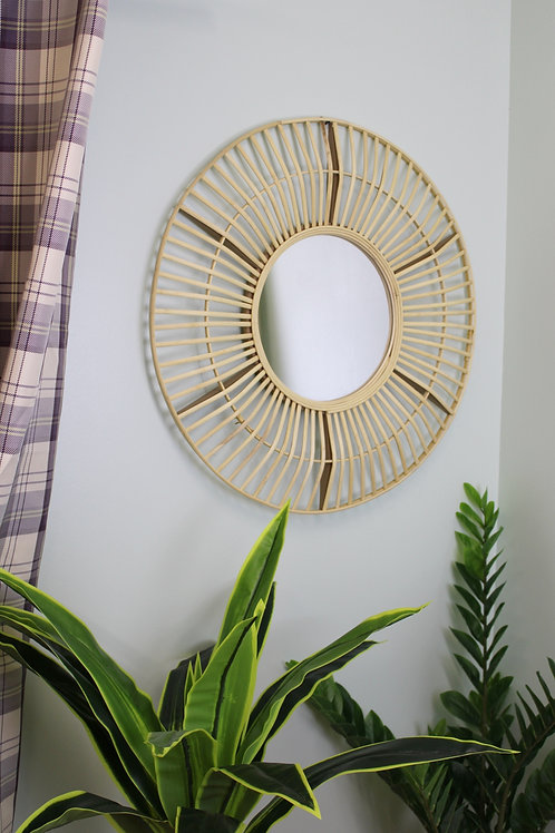 Circular Natural Rattan Effect Mirror 70cm Shipping furniture UK