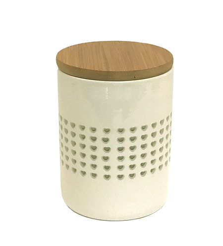 Heart Cut Out Storage Canister With Wood Lid Shipping furniture UK