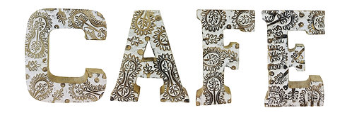 Hand Carved Wooden White Flower Letters Cafe Shipping furniture UK