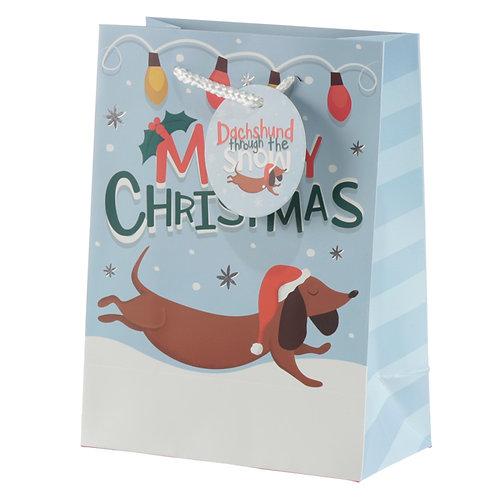 Dachshund Through the Snow Medium Christmas Gift Bag Novelty Gift
