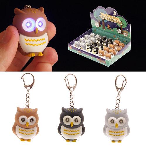 Hooting Owl Novelty Key Ring with Light Up Eyes Novelty Gift