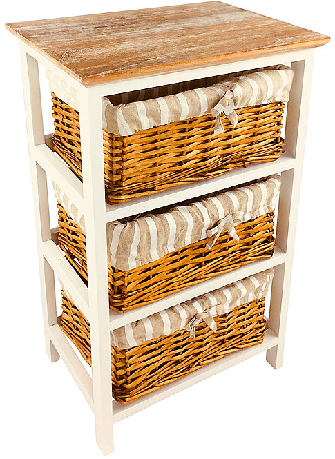 Wooden Storage Cabinet With 3 Baskets 62cm Shipping furniture UK