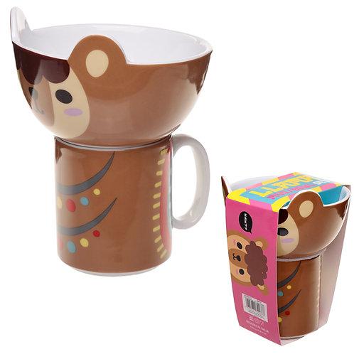 Children's Porcelain Mug and Bowl Set - Cute Llama Novelty Gift