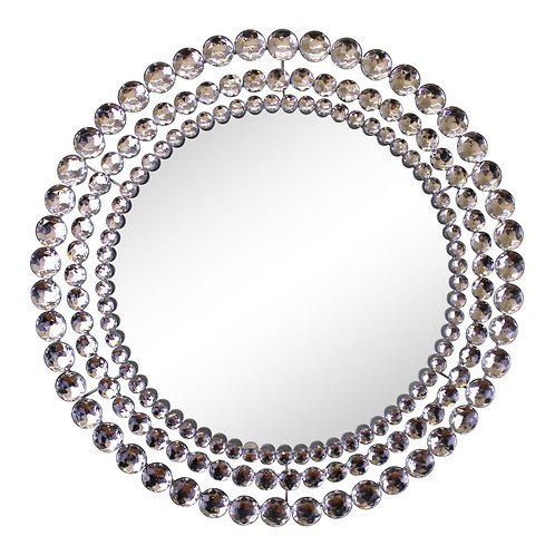 Silver Metal Jewelled Circular Wall Mirror Shipping furniture UK