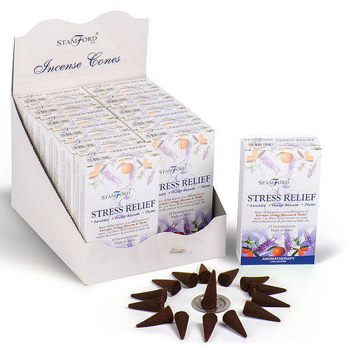 Stamford Hex Incense Cones - Stress Relief [Pack of 12] Novelty Gift
