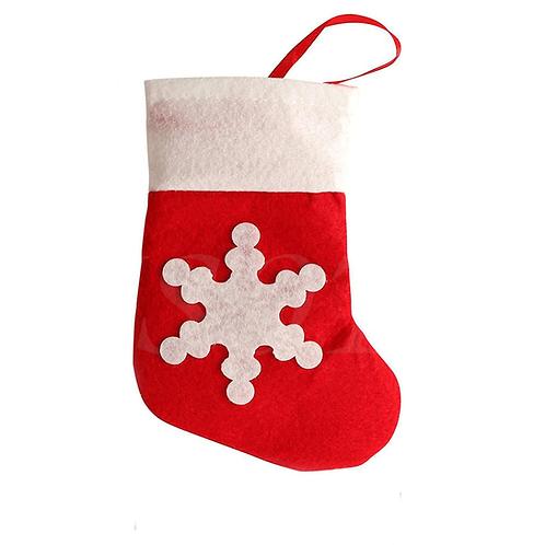 Mini Christmas Snowflake Felt Stockings Cutlery Sock Xmas Dinner Decoration