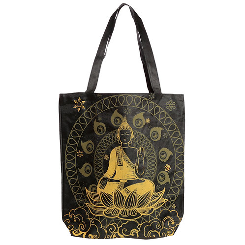 Handy Cotton Zip Up Shopping Bag - Thai Buddha Novelty Gift