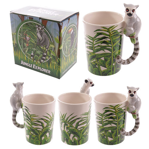 Novelty Ceramic Jungle Mug with Lemur Shaped Handle Novelty Gift
