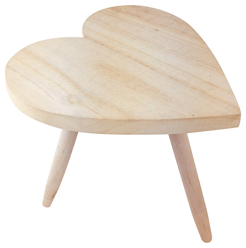 Natural Wooden Heart Stool 30cm Shipping furniture UK