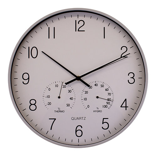 Large Grey Wall Clock 40cm With Thermometer/Hygrometer Shipping furniture UK