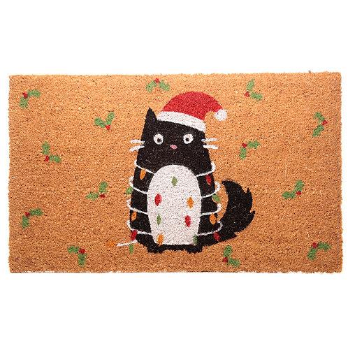 Coir Door Mat - Festive Feline Cat Design Novelty Gift