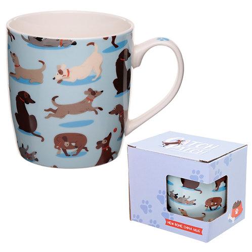 Porcelain Mug - Catch Patch Dog Design Novelty Gift