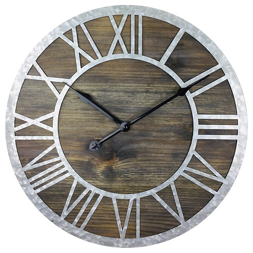 Wooden Roman Numeral Clock with Zink Numbers 40cm Shipping furniture UK
